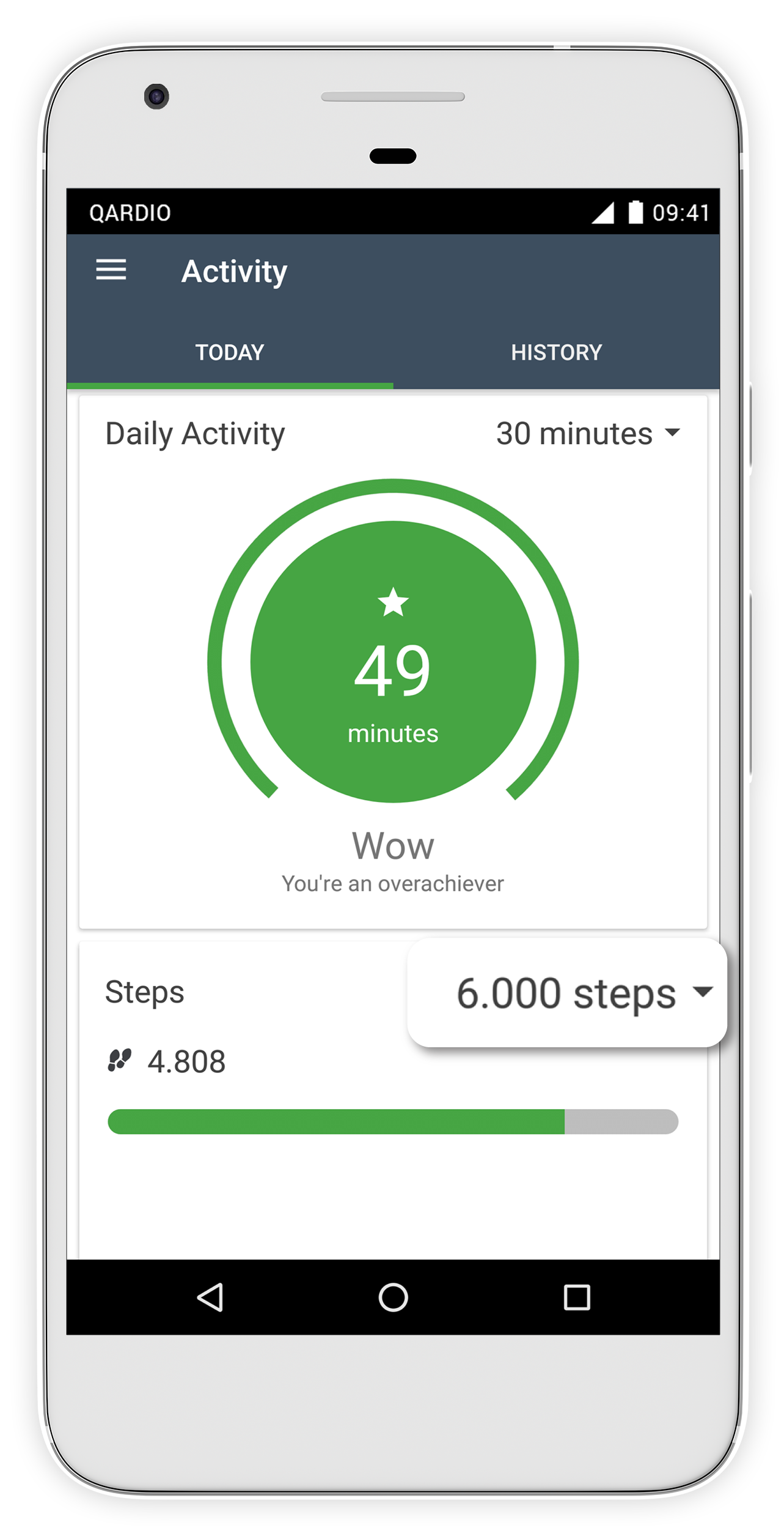 activity tracking on qardio app for android support